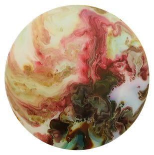 Chrome l by Gurbaz Kaur , Abstract Painting, Acrylic on Canvas, Brown color