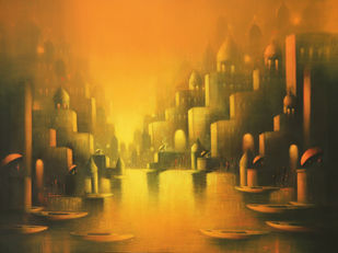 The Aura Of Banaras by Somnath Bothe, Expressionism Painting, Acrylic on Canvas, Brown color