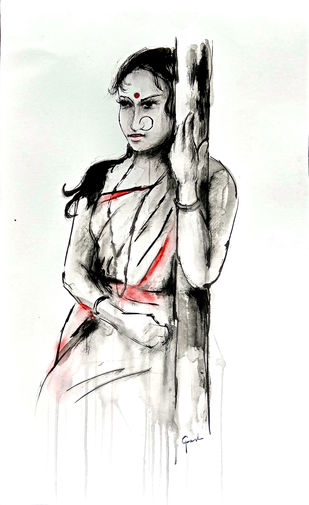 Indian lady 25 by MADURAI GANESH, Illustration Painting, Ink and brush on paper board, White color