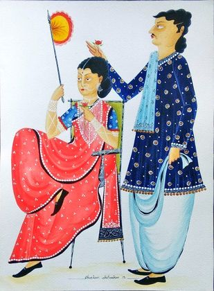 Babu-Bibi - 111 by Bhaskar Chitrakar, Folk Painting, Natural colours on paper, Pink color
