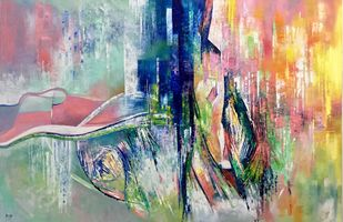 INCEPTION by Ella Prakash, Abstract Painting, Oil on Canvas, Beige color