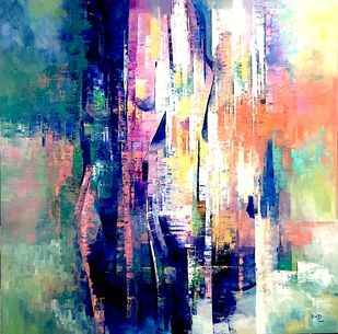 Exuberant by Ella Prakash, Abstract Painting, Oil on Canvas, Blue color