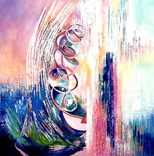 The Creator by Ella Prakash, Abstract Painting, Oil on Canvas, Pink color