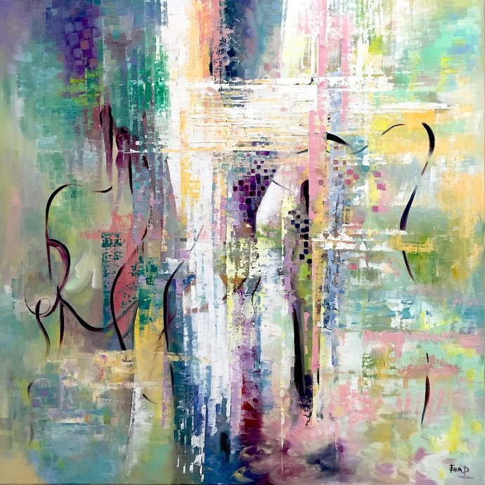 EVOLUTION by Ella Prakash, Abstract Painting, Oil on Canvas, Beige color