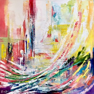 the path of joy by Ella Prakash, Abstract Painting, Oil on Canvas, Beige color