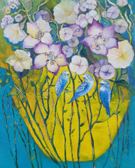 Blue birds on yellow pot by Debarati Roy Saha, Expressionism Painting, Oil on Canvas, Green color