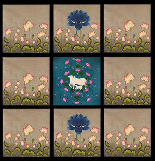 A Set of 9 Beautiful Kamal Talai And Cow Painting(unframed) by Unknown Artist, Folk Painting, Natural stone colour on cotton, Brown color