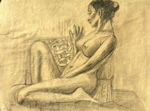 Seated Woman by Animesh Roy, Illustration Drawing, Graphite on Paper, Beige color