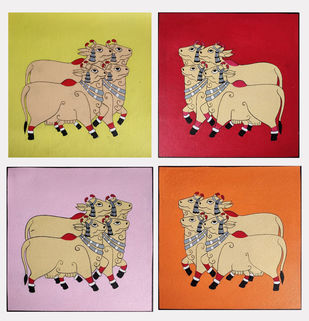 Set of 4 Beautiful cow Pichwai Painting (unframed) On Canvas With Acrylic color by Unknown Artist, Folk Painting, Acrylic on Canvas, Beige color
