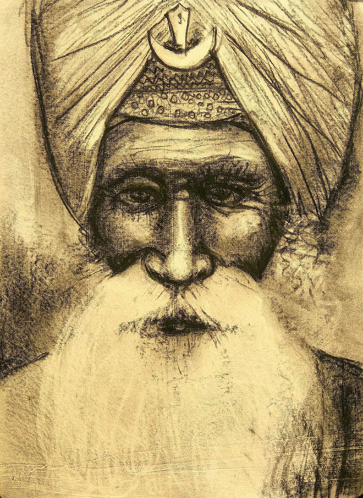 Sikh: Warrior of India by Animesh Roy, Illustration Drawing, Charcoal on Paper, Beige color
