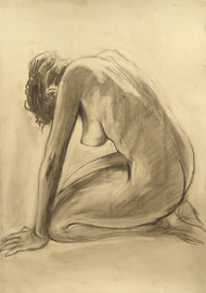 Vajra Asana: The Kneeling Nude-2 by Animesh Roy, Illustration Drawing, Charcoal on Paper, Beige color