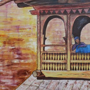 the wait by Mallika Bulusu, Impressionism Painting, Mixed Media on Canvas, Brown color