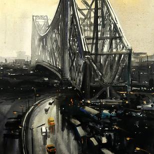 Howrah-bridge-at-evening by Ranabir Saha, Impressionism Painting, Acrylic on Canvas, Gray color