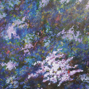 Spring by dilraj kaur, Abstract Painting, Acrylic on Canvas, Blue color