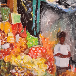A vegetable seller by Shalini Sinha, Expressionism Painting, Oil Pastel on Paper, Brown color