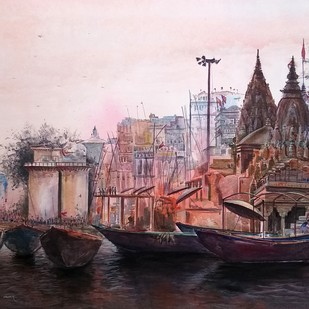 Holy Place by Yashpal, Impressionism Painting, Acrylic on Canvas, Pink color