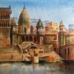 Banaras Ghat by Yashpal, Impressionism Painting, Acrylic on Canvas, Brown color