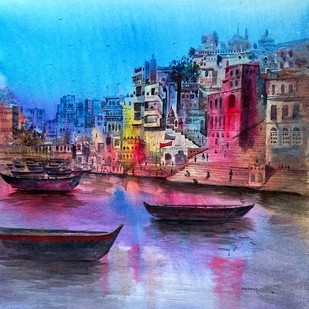 Banaras Ghat by Yashpal, Impressionism Painting, Acrylic on Canvas, Blue color