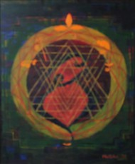 the Transcendent by Mallika Bulusu, Geometrical Painting, Oil on Canvas Board, Brown color