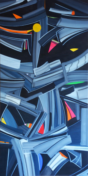Transcending forms by Amit Kalla, Art Deco Painting, Acrylic on Canvas, Blue color