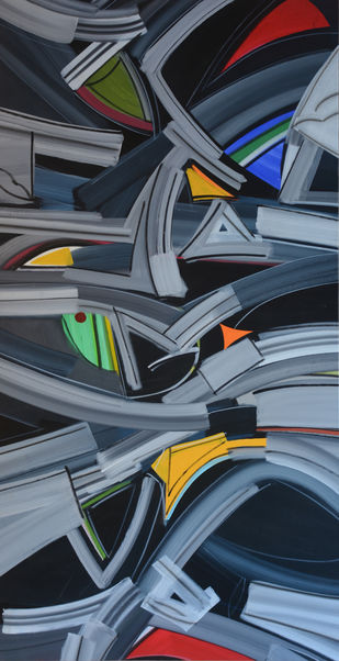Transcending forms by Amit Kalla, Geometrical Painting, Acrylic on Canvas, Green color