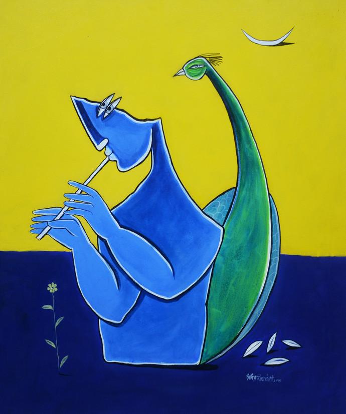 Krishna by Amit Rajvanshi, Geometrical Painting, Acrylic on Canvas, Blue color