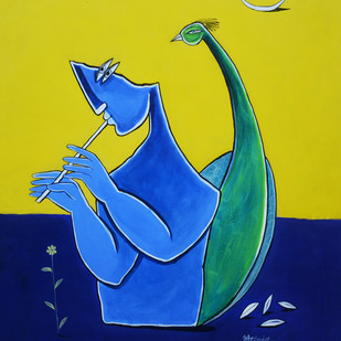 Krishna by Amit Rajvanshi, Geometrical Painting, Acrylic on Canvas, Blue color