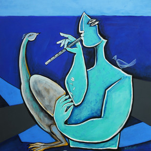 Krishna by Amit Rajvanshi, Expressionism Painting, Acrylic on Canvas, Blue color
