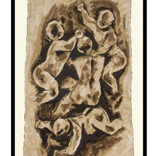 Mother - VI by M F Husain, Expressionism Serigraph, Serigraph on Paper, Beige color