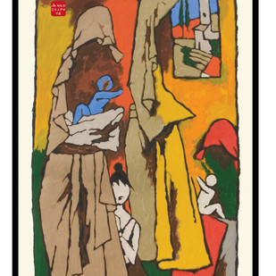 Mother - IX by M F Husain, Expressionism Serigraph, Serigraph on Paper, Brown color
