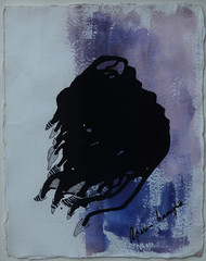 Untitled by Aparna Banerjee, Abstract Painting, Mixed Media on Paper, Blue color