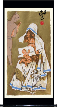 Mother - XI by M F Husain, Expressionism Serigraph, Serigraph on Paper, Beige color