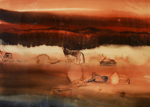 Untitled by Ashish Kushwaha, Abstract Painting, Watercolor on Paper, Brown color