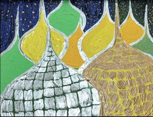Mosque's Changing Colours by Reena Manuja, Expressionism Painting, Acrylic on Canvas, Beige color