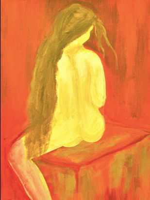 The Untitled by Reena Manuja, Expressionism Painting, Acrylic on Canvas, Orange color