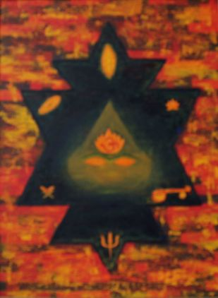 the Infinite by Mallika Bulusu, Geometrical Painting, Oil on Canvas Board, Brown color