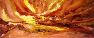 Autumn sunset by Deepa Kern, Abstract Painting, Oil on Canvas, Brown color