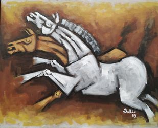 Horses4 by Balbir Singh, Expressionism Painting, Acrylic on Board, Brown color