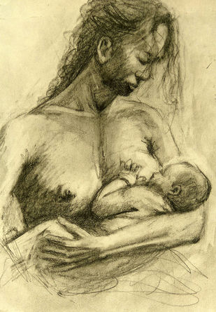 Maa & Child by Animesh Roy, Illustration Drawing, Graphite on Paper, Beige color