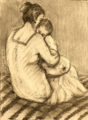 Maa & Child-4 by Animesh Roy, Illustration Drawing, Graphite on Paper, Beige color