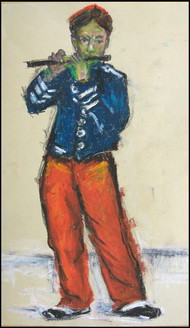 The Flute Player-3 by Animesh Roy, Expressionism Drawing, Oil Pastel on Paper, Beige color