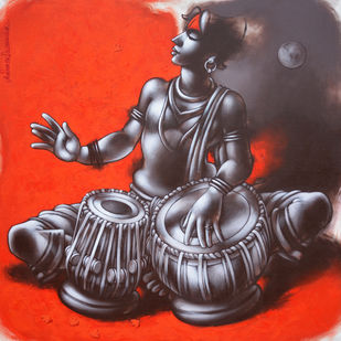 Untitled by Avinash Deshmukh, Traditional Painting, Acrylic on Canvas, Brown color