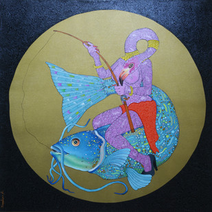 Shikari by Bandana Kumari, Expressionism Painting, Acrylic & Ink on Canvas, Green color