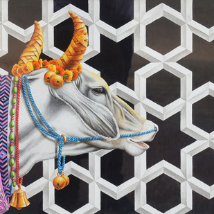 Kamadhenu by Rohit Sharma, Traditional Painting, Watercolor on Paper, Gray color