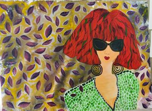 """""""It Girl"""" by Anissha, Pop Art Painting, Acrylic on Canvas, Brown color"""