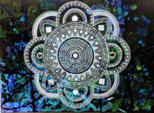 Silver Mandala by Anissha, Decorative Painting, Acrylic on Canvas, Green color