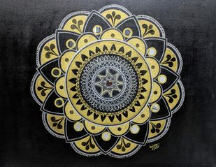 The golden mandala by Anissha, Decorative Painting, Acrylic on Canvas, Gray color