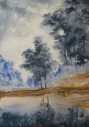 Monsoon Ballad by Neha Bisht , Expressionism Painting, Watercolor and charcoal on paper, Gray color