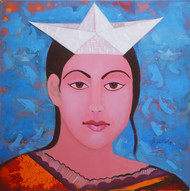 Untitled by Shivani Soni , Expressionism Painting, Acrylic on Canvas, Blue color