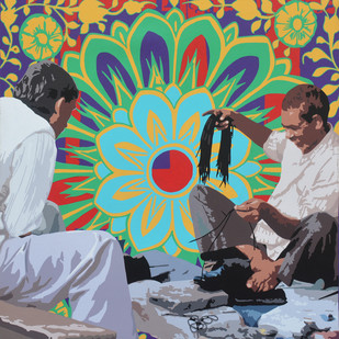 Cobbler Fixing Shoe Laces by Sohan Jakhar, Pop Art Painting, Acrylic on Canvas, Brown color